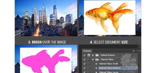 دانلود اکشن فتوشاپ ایجاد افکت شیشه های رنگی بر روی تصاویر