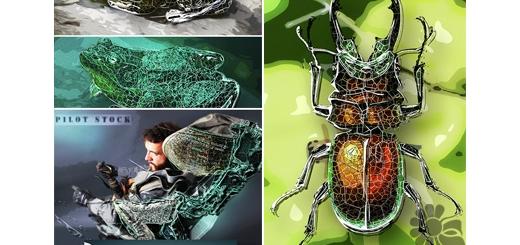 دانلود اکشن فتوشاپ ایجاد افکت اشکال هندسی فلزی بر روی تصاویر