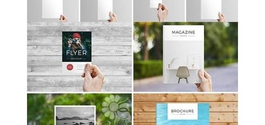 دانلود 9 موکاپ لایه باز کارت ویزیت، بروشور، مجله و فلایر در دست