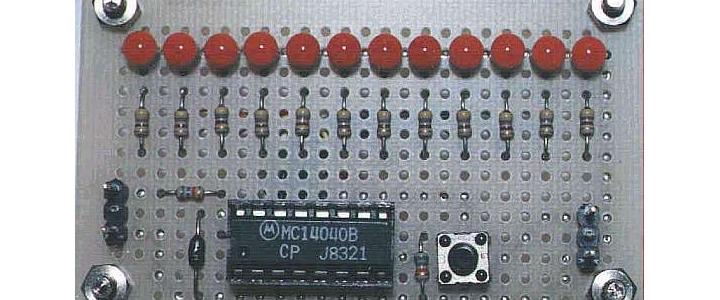 مدار شمارنده دودویی تعداد پالس توسط LED