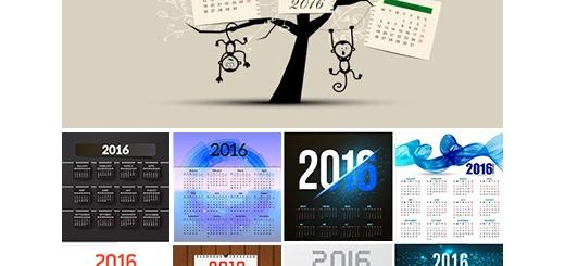 دانلود تصاویر وکتور قالب آماده تقویم 2016