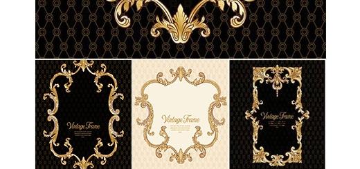 دانلود تصاویر وکتور قالب آماده فریم تزئینی طلایی برای طراحی منو، تبلیغات و لیبل