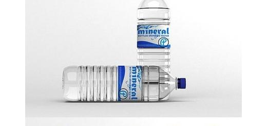 دانلود موکاپ لایه باز بطری آب معدنی بزرگ و کوچک