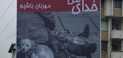 نصب بنر حمایت از حیوانات در ایزدشهر (مازندران)