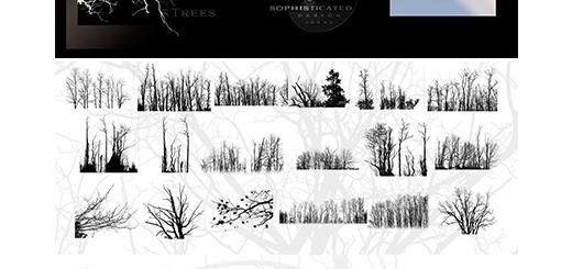 دانلود براش لایه باز درختان متنوع برای فتوشاپ