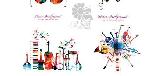 دانلود تصاویر وکتور عناصر تزئینی رنگارنگ موزیک