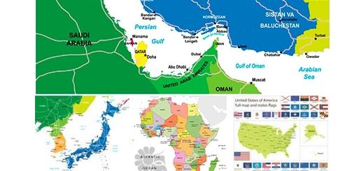 دانلود تصاویر وکتور نقشه ایران و جهان و کشورهای مختلف مانند فرانسه، آمریکا و ...
