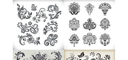 دانلود تصاویر وکتور عناصر تزئینی گلدار، بت و جقه، قاب و حاشیه و ...