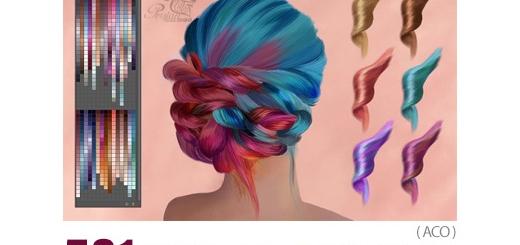 دانلود 581 سواچ رنگ مو برای نقاشی دیجیتال در فتوشاپ