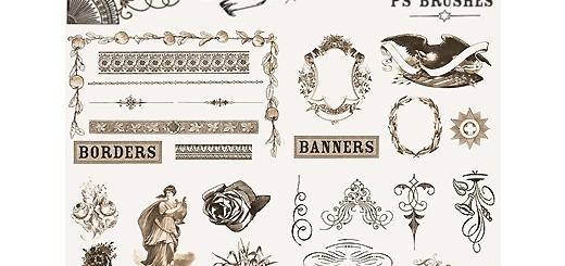دانلود براش فتوشاپ عناصر طراحی آنتیک