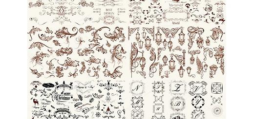 دانلود مجموعه تصاویر وکتور عناصر طراحی، بت و جقه ، قاب و حاشیه و ...