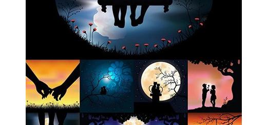 دانلود مجموعه تصاویر وکتور طرح های آماده رمانتیک برای کارت پستال