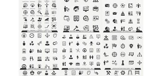 دانلود تصاویر وکتور آیکون های متنوع تجاری، ساخت و ساز، نقشه، امنیتی و ...