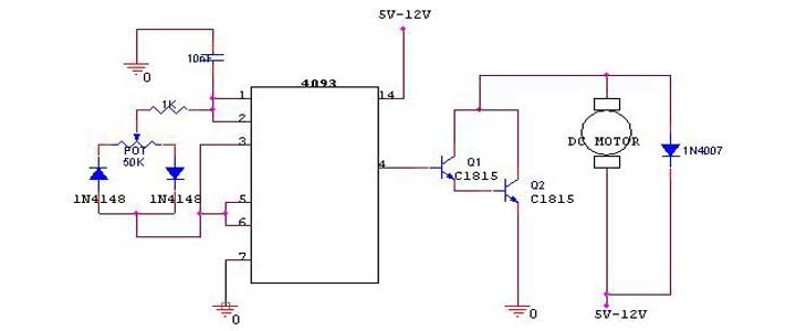 مدار کنترل PWM موتور DC با آی سی 4093
