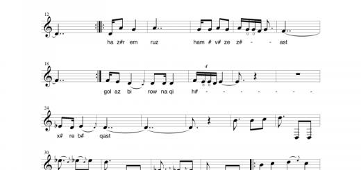 نت آهنگ فلک . حسین علیزاده . آوانگاری و نت نویسی نیما فریدونی . برای تار و سه تار . برای ۴ خواننده