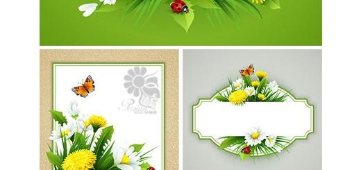 دانلود تصاویر وکتور فریم با پس زمینه بهار و گل و بوته
