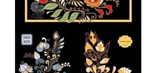 دانلود تصاویر وکتور پترن با طرح گل های تزئینی قدیمی